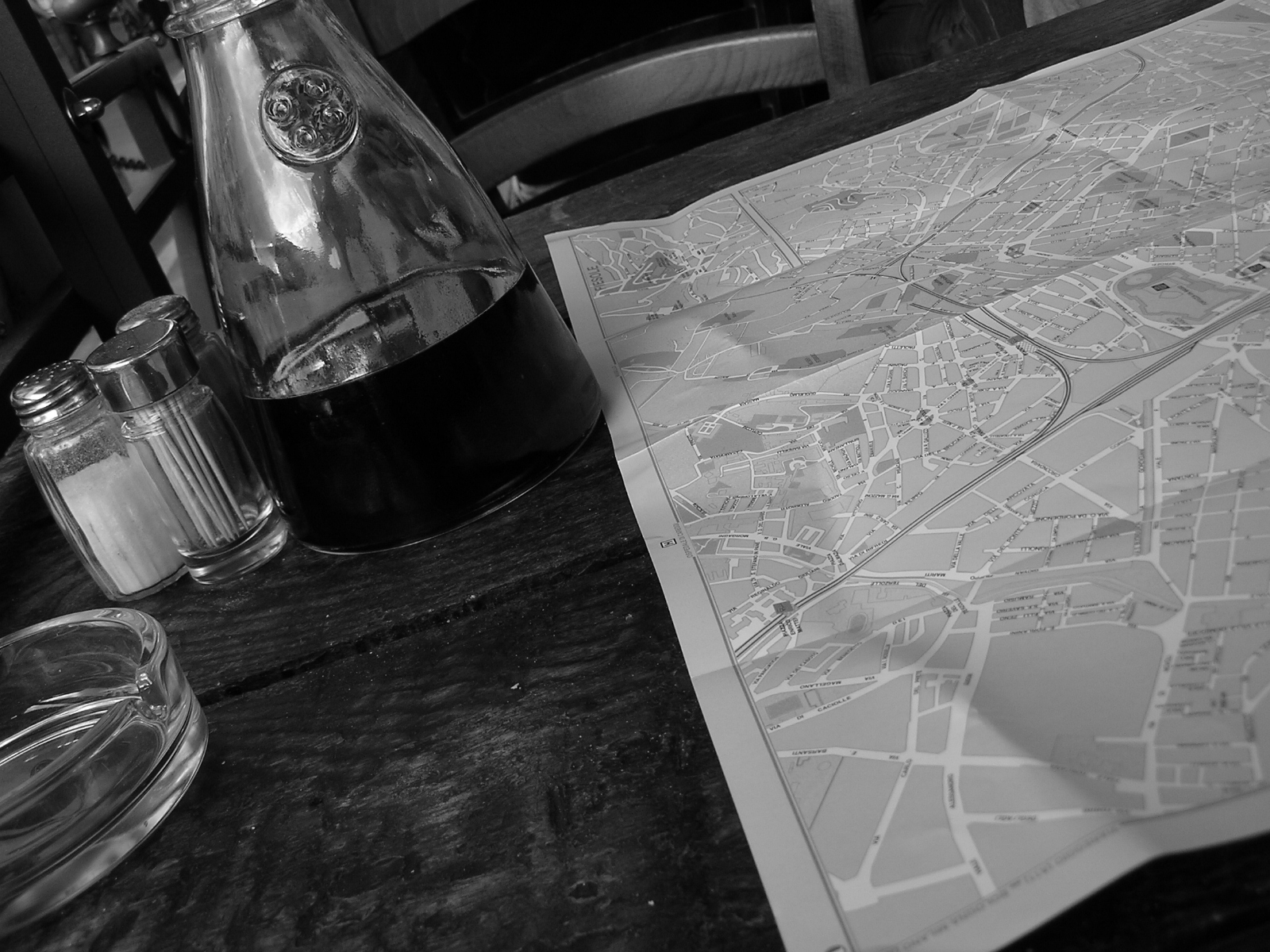 Map and carafe of wine
